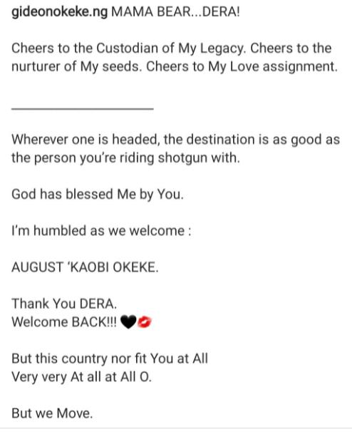Gideon Okeke and wife welcome second child